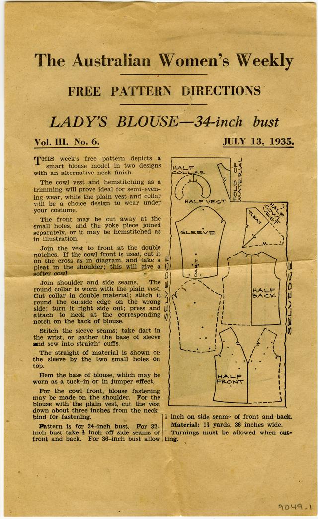 Pattern, Sewing -  The Australian Women's Weekly - Lady's Blouse pattern, 1935